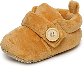 TRASE Button Baby Girls and Baby Boys Soft Base Booties Shoes (Also Available Combo Pack of 2 Booties)