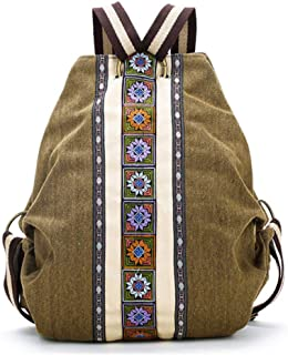 YUENA CARE Women Handmade Embroidery Canvas Backpack Daypack Vintage Boho Travel Shoulder Bag