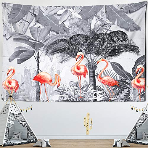 KHKJ Naturaleza Palmera Paisaje Flamingo Tapices Hojas de Animales Árbol Tropical Tapiz Tela de Pared Mantel Playa Paño de Pared A5 95x73cm