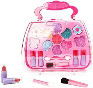 BELUPAI Girls Make Up Kit, Pretend Play Princess Cosmetic Non Toxic Beauty Cosmetic Set Box with Accessories Tote Case for Kids Birthday, Pink