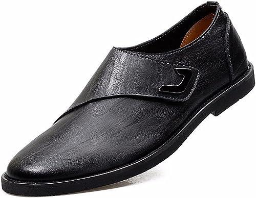 TYAW-Chaussures pour Hommes Chaussures en Cuir Talon Plat à Tête Ronde à Fond épais de Couleur Solide