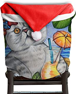 Fall Harvest Autumn Coastal Beach Beachy Seaside Cat Flower Themed Christmas Xmas Dinning Table Seat Chair Cap Hat Covers For Backers Slipcovers Wraps Coverings Decorations Protector Party Decor