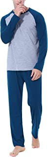 Aibrou Clásico Pijamas Hombre Invierno Algodon Mangas Pantalones Largos Set, Suave,Cómodo
