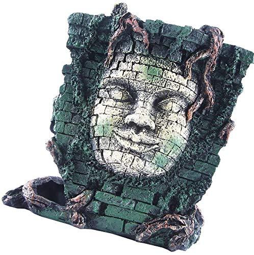 l.e.i. Fish Tank Statue Resin Craft Realistic Maya Head Portrait Figurine Freshwater Tank Sculpture for Home Shop Decor (Random Color)