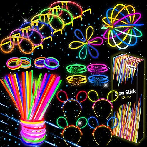 Kimimara Barras Luminosas, 100 Palos Luminosos con 122 Conectores para Pulseras y Pelotas, Iluminación para Juguetes, Ideal para Fiestas en la Oscuridad ,de 20 Centímetros de Largo (Colores Mezclados)