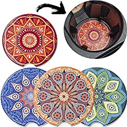 Cork Base for Auto Cupholder Accessories Keep Vehicle Clean Absorbing Round Ceramic Stone Coaster with a Finger Notch for Easy Removal AD Car Coasters Set of 6 Drink