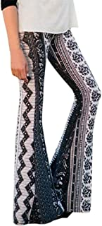 Womens High-Waist Casual Print Sports Pants Harem Pants Bell-Bottoms Yoga Pants