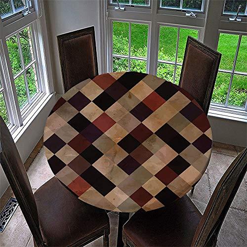 Chickwin Mantel Antimanchas Redondo, Mantel de Mesa Impermeable Diseño de Borde Elástico Patrón Mosaico Marruecos Mantel Redondo para Comedor, Cocina, Picnic (D,Diámetro 120cm)