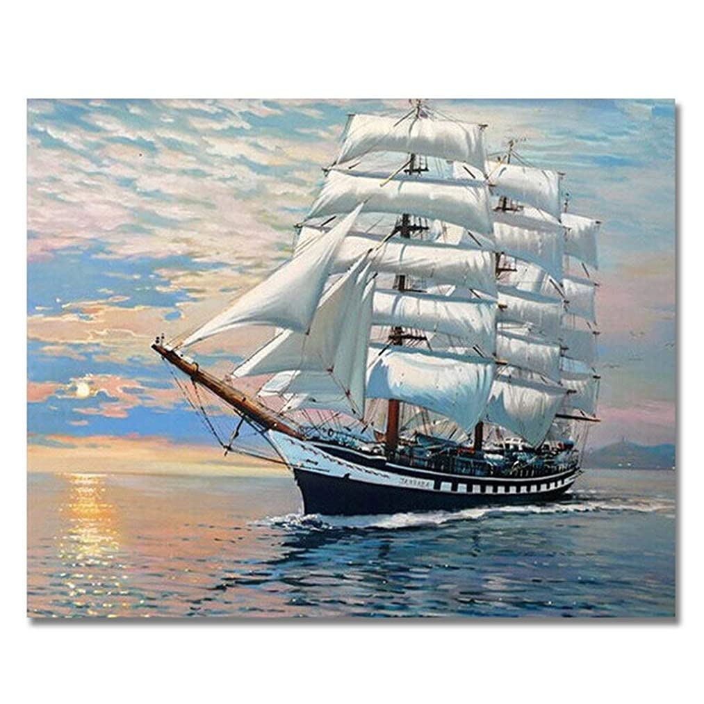 Rihe Paint by Numbers Kits Diy Oil Painting for Adults Kids Beginner - Smooth Sailing 16 x 20 inch with Brushes and Acrylic Pigment (Without Frame)