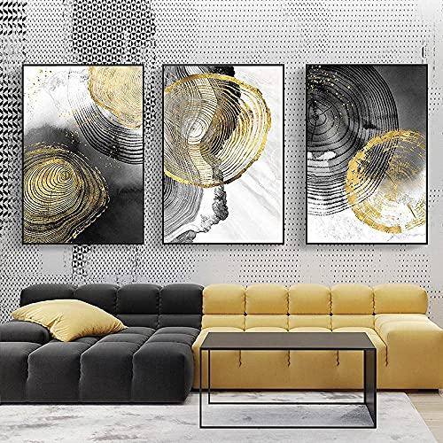 ZHIFAN Arte De Pared Tinta Negra Anillo Anual Cartel Nórdico Impresión Decoración Minimalista Decoración Abstracta para Sala De Estar Decoración del Hogar-50 * 70Cm*3(20 * 28Inch*3) No Frame