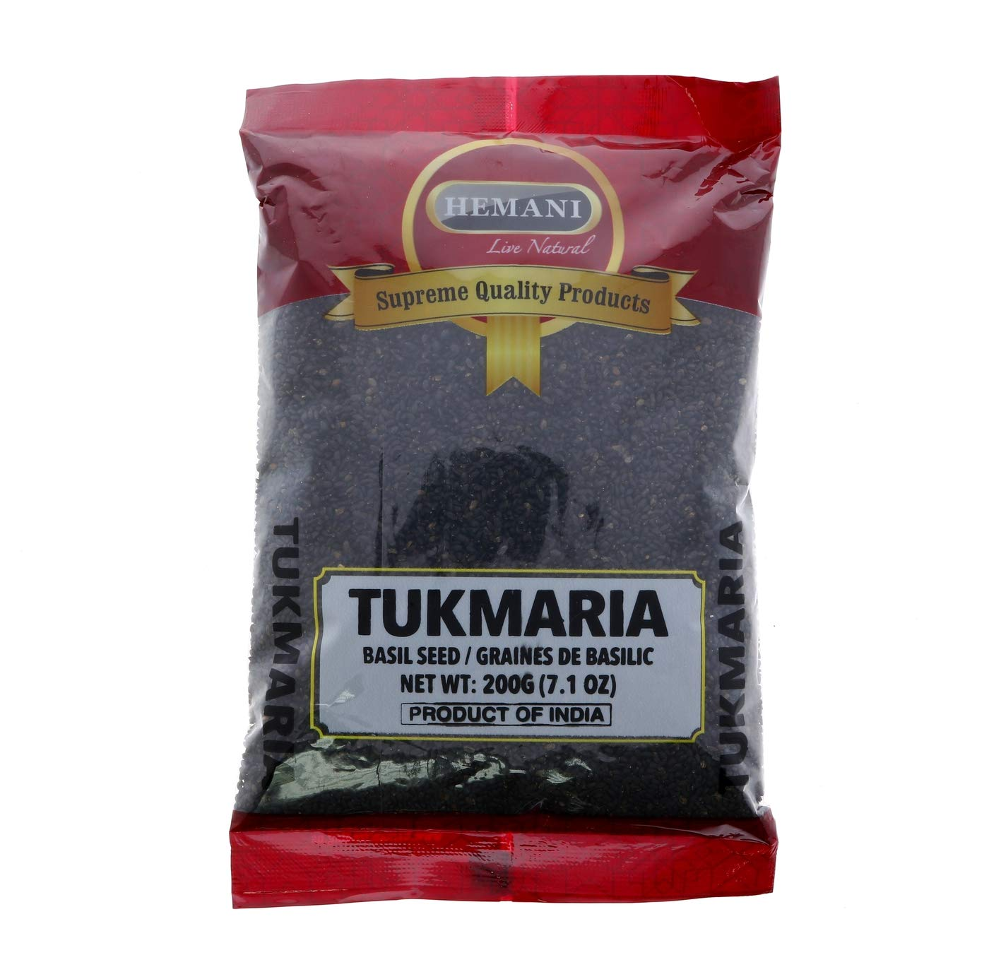 HEMANI | Edible Basil Seeds 7.1 OZ (200g) | Tukmaria | Thai Basil Seeds - 2X more Nutritious than Chia Seeds