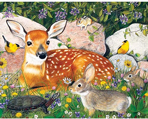 Bits and Pieces - 200 Piece Jigsaw Puzzle for Adults 15' x 19' - Woodland Friends - 200 pc Baby Deer...