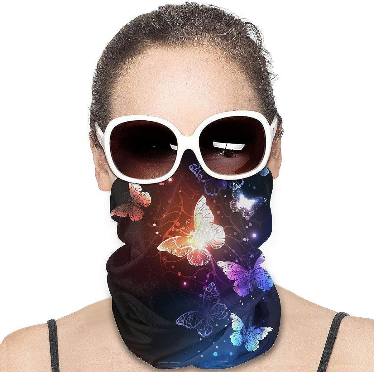 KiuLoam Women Bandanas Face Mask, Glitter Butterfly Beautiful Neck Gaiter Mask Headband for Men Face Scarf Dust, Outdoors, Sports