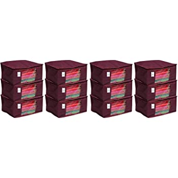 Kuber Industries 12 Piece Non Woven Saree Cover Set, Maroon,Large Size ,CTKNEW149