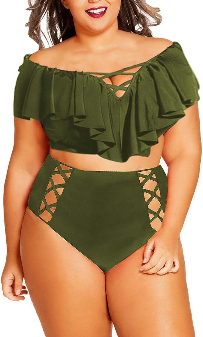 Kisscynest Women's Plus Size Swimwear 2 Piece High Waisted Swimsuit Ruffle Bikini