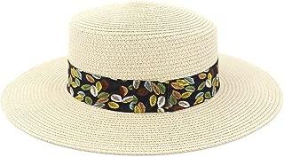 Sun Visor New Women Color Leaf Printing Flat Cap Spring Summer Straw Sun Hat Beach Travel Tourism Beach Hat (Color : Light Khaki, Size : 56-58CM)