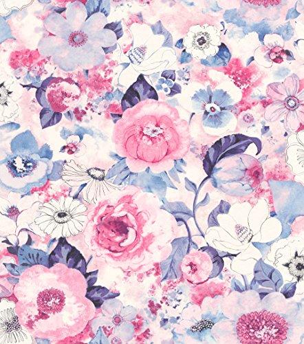 rasch Tapete 803518 aus der Kollektion Lucy in the Sky – Vliestapete mit buntem Blumen-Muster – 10,05m x 53cm (L x B)