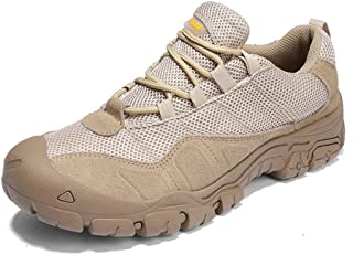 Shoes Comfortable Fashion Sneakers for Men Low Top Walking Running Hiking Sport Shoes Lace Up Casual Knit Round Toe Anti-Slip Breathable Wear Resistant Fashion (Color : Khaki, Size : 9.5 UK)