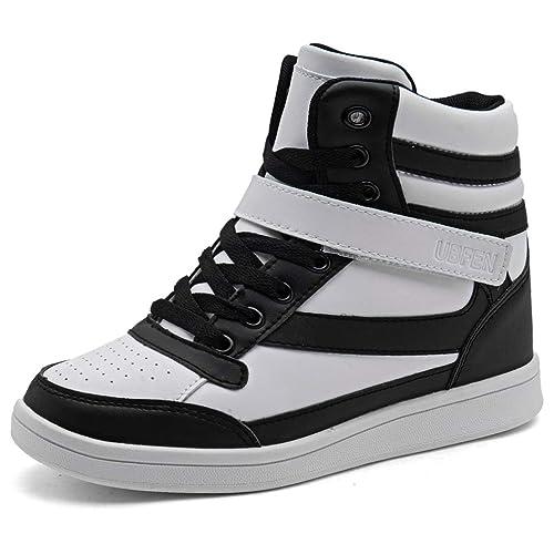 627e28921ee6 UBFEN Women s Shoes Hidden Wedges 5.5cm Fashion Sneakers Ankle Boots Bootie  Platform Heel High Top