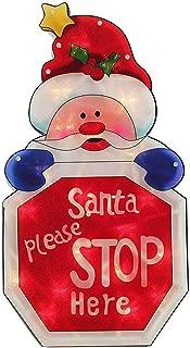 Alimentado por batería Parada de Santa aquí firmó una ventana de doble cara silueta Decoración de Navidad - 45 cm para la decoración de Navidad en casa