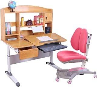 Kids Desk and Chair Set Childrens Study Desk Chair Table Set Tiltable Table And Chair For Kids Art Wooden Table Set Work Station Height Adjustable  Color Pink