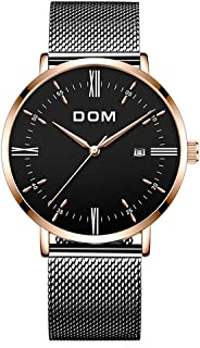 Mens Watches Waterproof Ultra Thin Fashion Luxury Analog Quartz Watch for Men Busniess Dress with Milanese Band