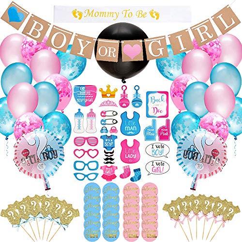 U&X Kit de Fournitures de fête Baby Gender Reveal,103 pièces de décorations pour la Douche de bébé , Un gâteau, des Ballons Roses Bleus, des confettis, des Accessoires de photomaton, Une bannière