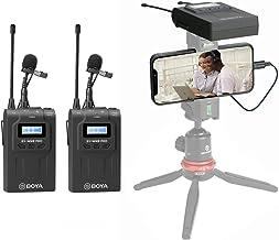 BOYA WM8 Pro-K2 دو کانال بدون سیم Lavalier میکروفون سیستم 2 فرستنده و 1 گیرنده برای ضبط دوربین DSLR آیفون 8 x 7 6 سامسونگ تلفن هوشمند یوتیوب مصاحبه خیابان فیس بوک Livesteam Vblog