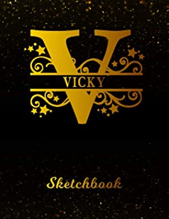 Vicky Sketchbook: Letter V Personalized First Name Personal Drawing Sketch Book for Artists & Illustrators | Black Gold Space Glitter Effect Cover | ... & Art Workbook | Create & Learn to Draw