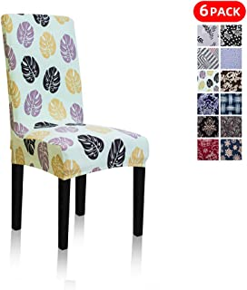 Stretch Jacquard Print Removable Washable Short Dining Chair Covers Seat Slipcover Furniture Protector for Hotel, Dining Room, Kitchen, Banquet Wedding Party (4 Per Set, Green Leaves Ly)