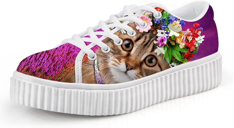Chaqlin Kawaii Animal Cat Printed Women's Vulcanize shoes Female Autumn Casual Flats 41