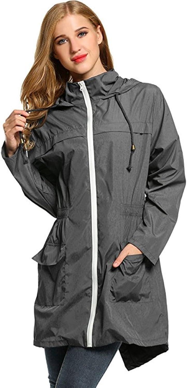 Aihifly tragbar Drawstring mit Kapuze Regenmantel Damen Weste Regenmantel Windbreaker Langen Regenmantel (Gre   XXL)