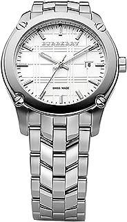 Swiss Silver White Date Dial 40mm Men Stainless Steel Wrist Watch Herringbone BU1852