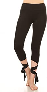 Woman's Comfortable Cross Tie Cuff Slim Yoga Pants Jogger Workout Capri Spandex Activewear Legging