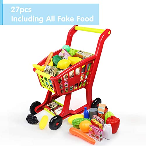 75cddc851b5c Nuheby Kids Trolley Toy Shopping Trolleys Children Shopping Cart  Supermarket Trolley with 27pcs Toy Fruit&Toy Vegetables
