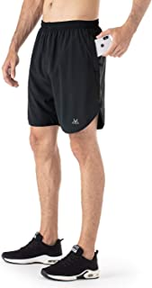 MAPILEKT Men's 7 Athletic Running Shorts with Mesh Liner Zipper Pockets