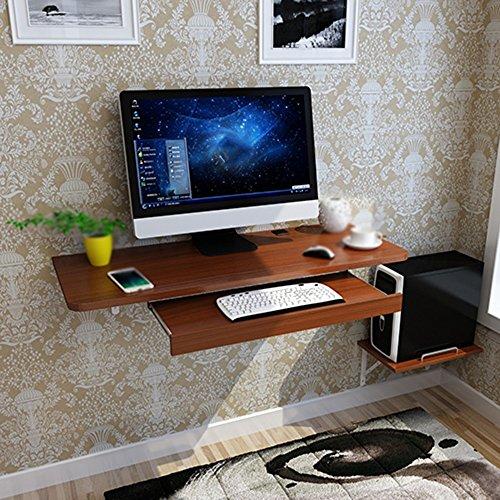 DEO Bureau d'ordinateur Bureau d'ordinateur Bureau à la maison Bureau Petit appartement Bureau d'ordinateur simple Creative Hanging wall durable (Couleur : Marron)