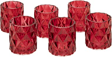 """Koyal Wholesale 3"""" Tall Red Modern Multifaceted Glass Candle Holders, Set of 6 Votives, Bulk Tealight Holders, Tablescapes, W"""