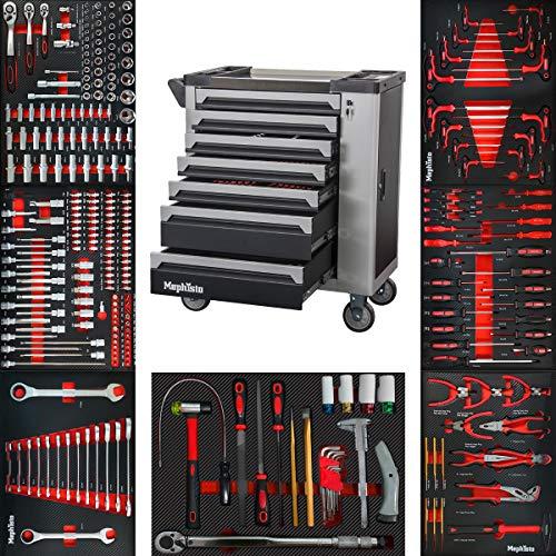 XXL Werkzeugwagen Werkstattwagen mit 7 Schubladen davon 7 mit Werkzeug in Soft Inlays in Carbonoptik befüllte Schubladen von Mephisto