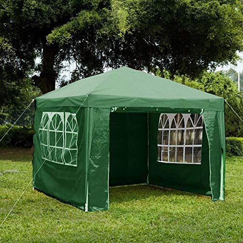 Gr8 Garden Gazebo with Sides Outdoor Waterproof Beach Party Festival Camping Tent Canopy Wedding Marquee Awning Shade 3mx3mx2.45m[Green]
