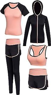 Nwada Sweatsuits for Women 5pcs Yoga Suit Fitness Sport Althletic Suit with Pants Shorts Sport Bra T-Shirt Coat for Autumn...