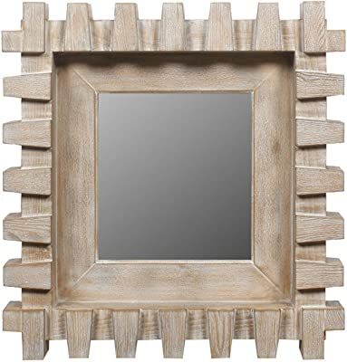 American Art Decor Rustic Arch Window Design Mirror Wall Vanity Accent Farmhouse Mirror with Shelf and Hooks 28.1 H x 16.5 L x 4.5 D