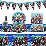 JIASHA Stoviglie per Feste di Compleanno,52 Pezzi Feste Stoviglie Avengers,Set da tavola per Feste Supereroi,con Piatti, Tovaglia,cannucce,Banner e tovaglioli,per Bambini Festa a Compleanno