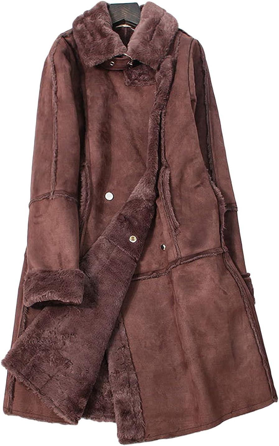 Jenkoon Womens Soft Lapel Fleece Lined Fur Overcoat Double Breasted Long Jacket Coats Outwear