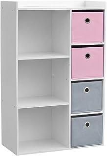 4117, Armoire 3 Niches avec 4 Tiroirs, blanche rose et grise, 62x29,5x96