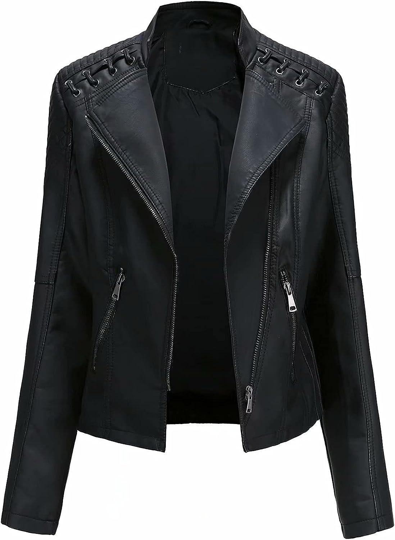 Herimmy Women's Faux Leather Jacket Moto Biker Slim Short Coat