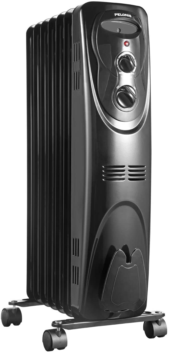 PELONIS NY15EC-7, Basic Electric Oil Filled Radiator, 1500W Portable Full Room Radiant Space Heater with Adjustable Thermostat, 26.10 x 14.20 x 11.00 in, Black