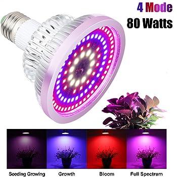 Pflanzenlampe 80W Vollspektrum 4 Modus LED Wachstumslampe E27 Pflanzenleuchte 108Leds Wachstum Pflanzenlicht für Zimmerpflanzen Gemüse und Blumen