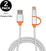 JOYIT 2 in 1 Charging Cable, 2-Pack Nylon Braided Micro USB Cable, Multi Type C Android Cable, Compatible with Galaxy S9/S8/Note 8, MacBook & More