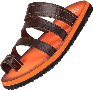 Odema Men's Leather Flip Flops Slip On Slippers Summer Sandals Shoes
